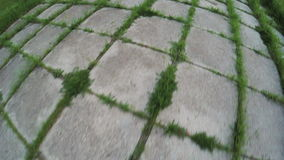 Plates road with sprouted grass stock footage