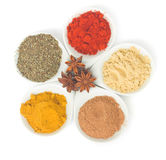 Plates with  spices on white Stock Photos
