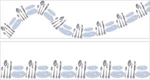 Plates, spoons, forks and knives arranged in a circle banners. Set of funny decoration straight stripe and wavy line in the form of cutlery - plates, spoons Stock Photos