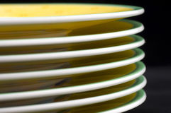 Plates stacked closeup Stock Photos