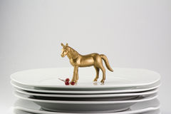 Plates stacked dishes and clean white horse and gold tableware, Stock Photos