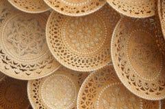 Plates and sugar bowls made of birch bark, Russian folk art Royalty Free Stock Photo