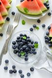 Plates with summer watermelon slices, blueberry and mint leaves on gray plate. Healthy eating concept. Top view royalty free stock image