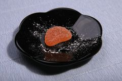 Plates with sweets. Marmalade on the dish royalty free stock photos