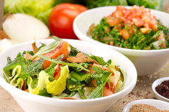 Plates of traditional Arabic salad fattouch and tabbouleh on a rustic background Royalty Free Stock Photography