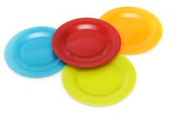 Plates of various colours Stock Photo