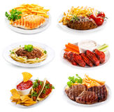 Plates of various meat and chicken stock image