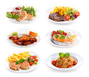 Plates of various meat, fish and chicken Royalty Free Stock Images