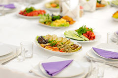 Plates with Vegetables Stock Image