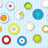 Plates on the wall, seamless pattern, vector Royalty Free Stock Image