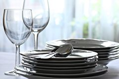 Plates and wine glasses Royalty Free Stock Images