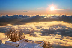 Platform above clouds royalty free stock photography