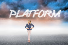 Platform against cloudy landscape background Royalty Free Stock Photo