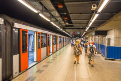 Platform on Amsterdam Central Station royalty free stock photos
