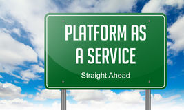 Platform as a Service on Green Highway Signpost. Royalty Free Stock Photo