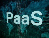 Platform as a Service. PaaS - Platform as a Service text concept on green digital world map background Stock Images
