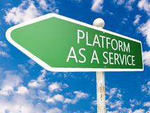 Platform as a Service. Street sign illustration in front of blue sky with clouds Stock Photography