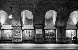 Platform at Baker Street underground train station, showing original brickwork and detail.