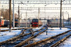 Platform commuter train. `Monino` station. Walking in Monino. Moscow region. Russian Federation Royalty Free Stock Photos