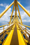 Platform construction in offshore, walk way to the building, Offshore oil and gas construction Royalty Free Stock Images