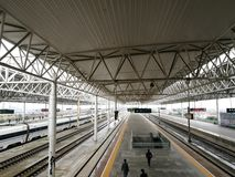 Platform for the CRH arriving in Jiaxing South Railway Station Stock Images