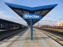 Platform in Czech border station BÅ™eclav stock photo