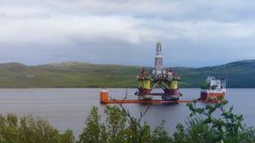 Floating drilling platform in the Kola Bay royalty free stock image