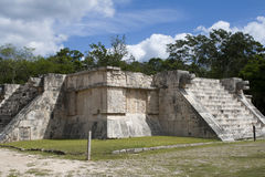 The Platform of the Eagles and the Jaguars. Is built in a combination Maya and Toltec styles. Each side has a staircase to the top. Carved into the sides are Royalty Free Stock Images
