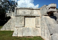 Platform of Eagles & Jaguars. At Chichen Itza, Mexico, carved reliefs are seen on the platform of Eagles & Jaguars, which was a religious & ceremonial platform Royalty Free Stock Image