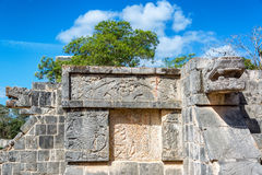 Platform of the Eagles and Jaguars. Details of the platform of the eagles and jaguars in the ruined Mayan city of Chichen Itza in Mexico Royalty Free Stock Photos
