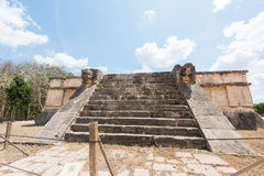 Platform of the eagles and jaguars in the Mayan city of Chichen Itza in Mexico Stock Images