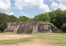 Platform of the Eagles and Jaquars, Chichen Itza. Pictured is the Platform of the Eagles and Jaguars in Chichen Itza.  It has intricate carvings on all sides Stock Images