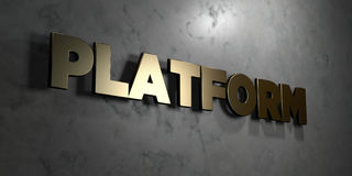 Platform - Gold sign mounted on glossy marble wall  - 3D rendered royalty free stock illustration. This image can be used for an online website banner ad or a Stock Photography