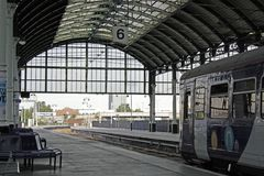 Train station in Hull city, East Riding of Yorkshire, United Kingdom. Platform 6 of Hull city train station. View of a train for York, which is ready to leave stock images