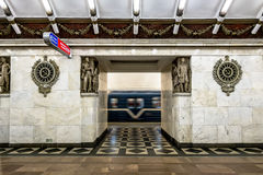 The platform and interior of the station Narvskaya in Saint-Pete. Saint-Petersburg.Russia.13 Sep 2016.The platform and interior of the station Narvskaya in Saint Royalty Free Stock Photography