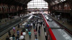 Platform of Luz Station Estacao da Luz in Sao Paulo stock video footage