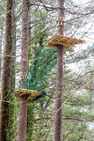 Platform and Net on Ropes Course. Wood platforms and rope netting on a challenging ropes course high in the pines Stock Photography