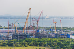 Platform petroleum fabrication and erection work in onshore yard. On top view royalty free stock photo