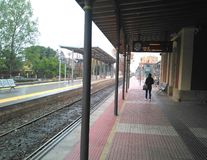 Platform and rails of the train Station in Lorca city royalty free stock photography