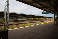 Platform of railway station in Berlin, Germany Royalty Free Stock Images