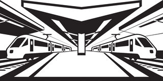 Platform of railway station with trains. Vector illustration Stock Photos