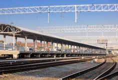 Platform with railway tracks Royalty Free Stock Photo