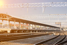 Platform with railway tracks stock image