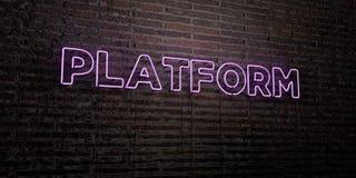 PLATFORM - Realistisch Neonteken op Bakstenen muurachtergrond - 3D teruggegeven royalty vrij voorraadbeeld vector illustratie
