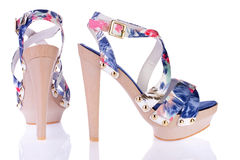 Platform sandals. Trendy multicolored shoe isolated on white Royalty Free Stock Photo