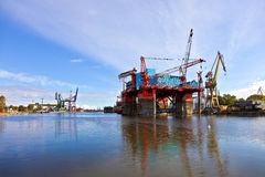 Platform in the shipyard royalty free stock photos