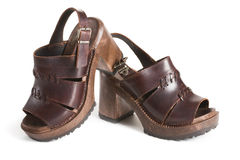 Platform Shoes. Old Platform Sandals with Wooden Sole Royalty Free Stock Photo