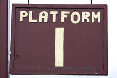 Platform sign. Old weathered platform sign, chase valley steam railway, Cannock, uk royalty free stock photography