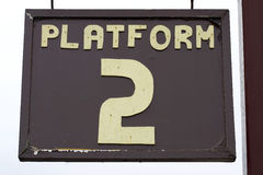 Platform sign. Old weathered platform sign, chase valley steam railway, Cannock, uk stock photo
