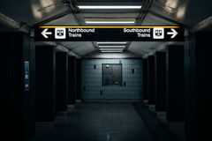 Platform and signs in the St. Andrews Subway Station, in Toronto. Ontario royalty free stock image